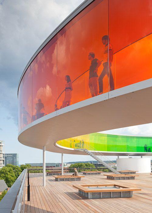 """Your Rainbow Panorama"" by Olafur Eliasson on the ARoS Museum of Modern Art in Århus, Denmark. See the beautiful city of Århus through multi-colored plexiglass windows."