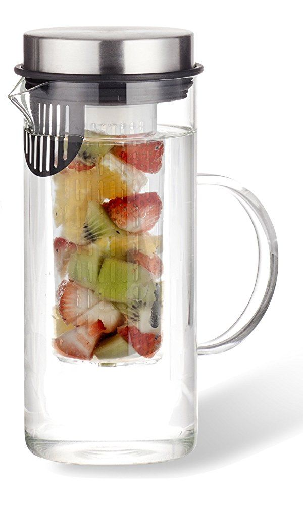 Fruit Infusion Pitcher | Leak Proof Borosilicate Glass Infused Bottle - Easy to Use Fruit Infusion Water Pitcher with Stainless Steel Twist Cap (34 oz) | by Zell Best Price