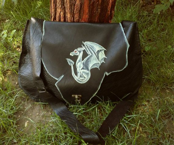 Dragon leather bag patchwork renaissance by GloberinaDesign