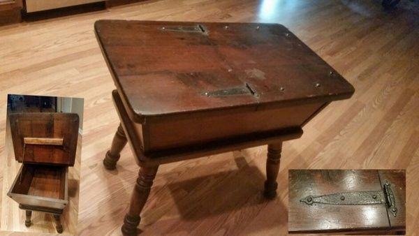 Vintage wood dough bin table fly furniture mid for Mid century modern furniture orlando