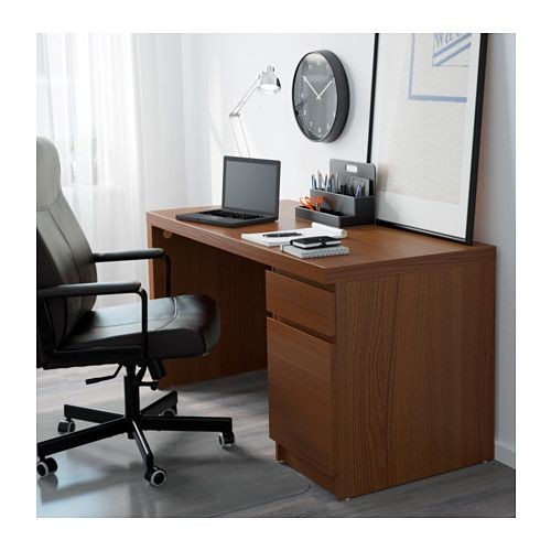 MALM Desk, brown stained ash veneer brown stained ash veneer 55 1/8x25 5/8