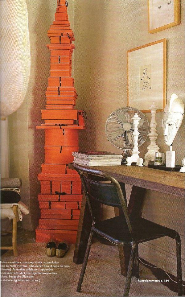 Elle_dcoration: Deco Elements, Hermes Boxes, Deco For, Home Decor, Boxes Towers, Orange Boxes, Icons Gifts, Orange Inspiration, Gifts Boxes