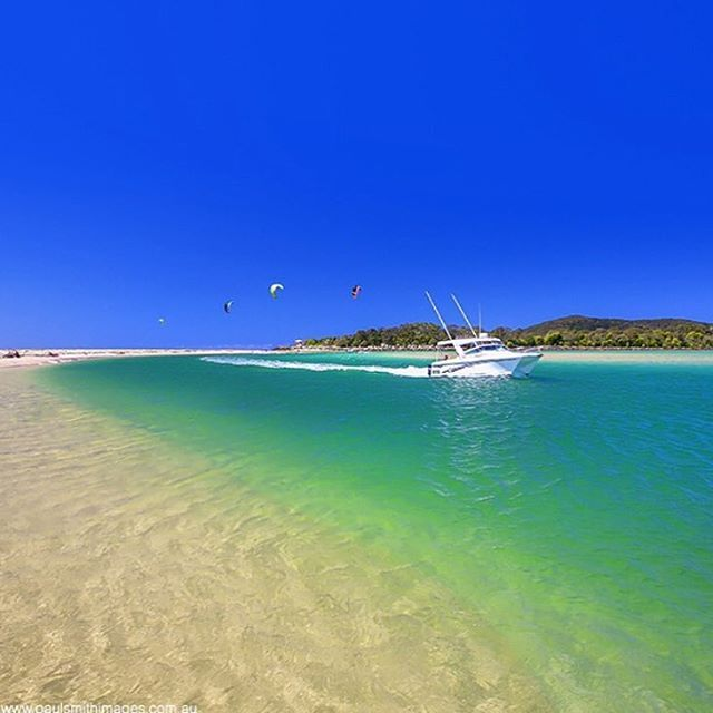 The incredible blues and greens of the Noosa Rivermouth!  This sensational spot is a popular place for river boats to pull in and spend the day, or make a quick stop for a picnic lunch.
