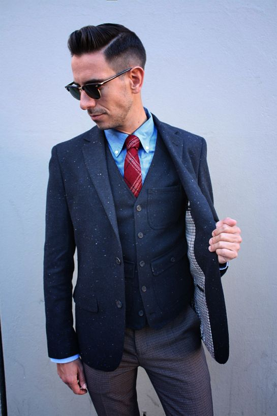 Tweed blazer and waistcoat, houndstooth pants, ray ban clubmaster sunglasses