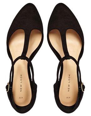 Image 3 ofNew Look Jupiter Black T Bar Flat Shoes