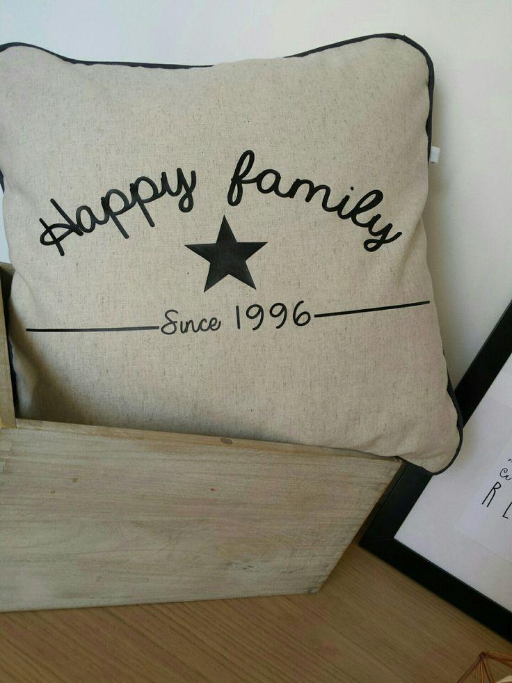 """housse de coussin """" happy family """" à personnaliser"""