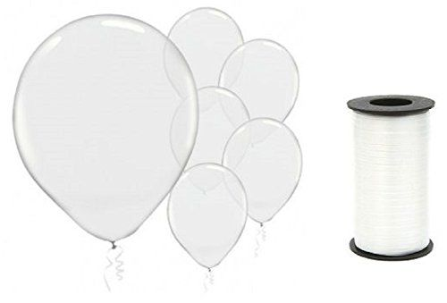 (72) Clear Transparent Latex 12 Inch Balloons and White C...