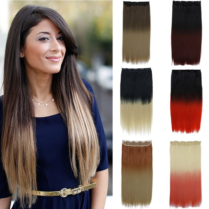 1PC 60cm 24inch Ombre Hair Extensions Straight Heat Resistance 2 Tones Hair Gradient Long Synthetic Clip In Hair Extension 666
