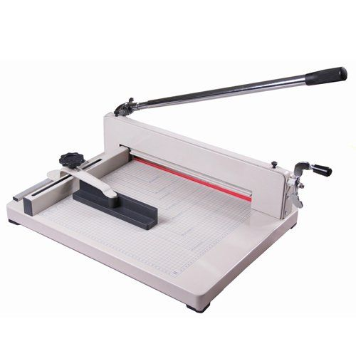 Amzdeal Professional Heavy Duty Industrial Paper Cutter Trimmer guillotine paper cutter machine CE ISO9001 - The maximum cutting width of this model is 12″ and the thickness capacity is 400 sheets of 20 LB bond papers.