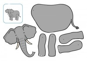 elephant cut and paste printables