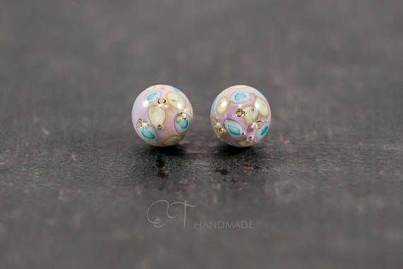 Murano glass pink stud earrings  Unique italian jewelry ball