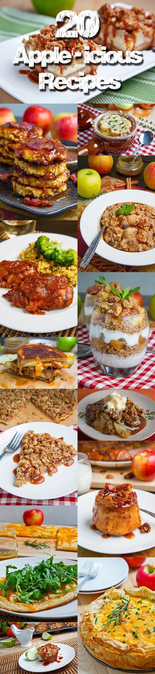 20 Apple-icious Recipes NOTE:  These are not all vegetarian.  You need to adapt them. :-)