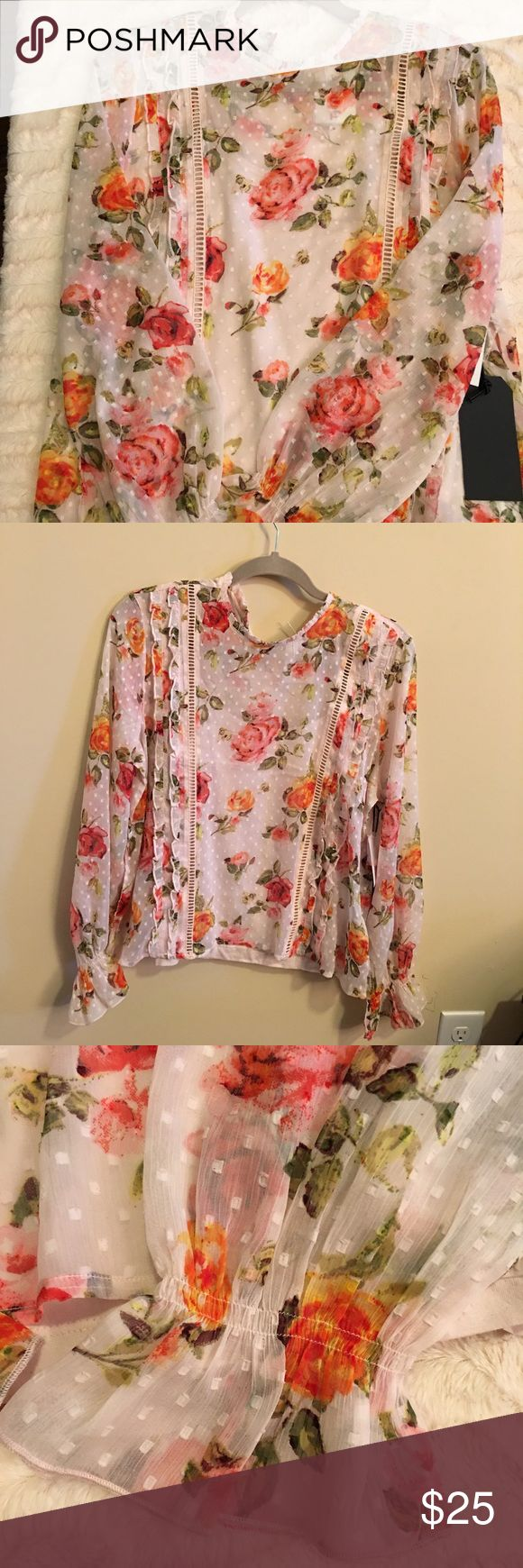 Kensie Jeans Floral Long Sleeve Top Sz L Beautiful, feminine lightweight floral long sleeve top with attached camisole. On trend and perfect for spring.  Sz L Kensie Tops Blouses
