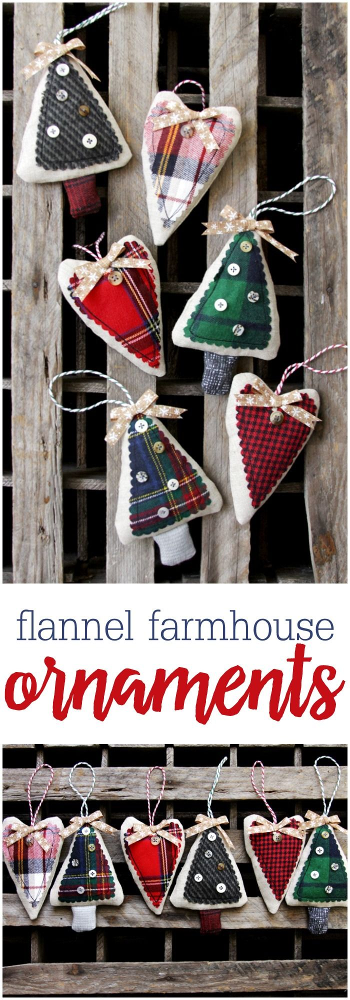 These Cute Simple Flannel Farmhouse Ornaments Sew Up So Fast So They're  Great To