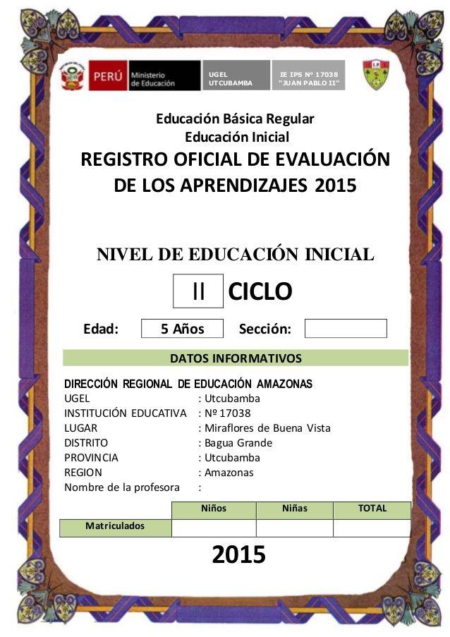 Educación Básica Regular  Educación Inicial  REGISTRO OFICIAL DE EVALUACIÓN  DE LOS APRENDIZAJES 2015  NIVEL DE EDUCACIÓN INIC...