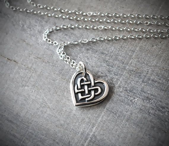 Silver Celtic Heart Necklace  Celtic Knot Heart by PrairieCoastArt, $38.00