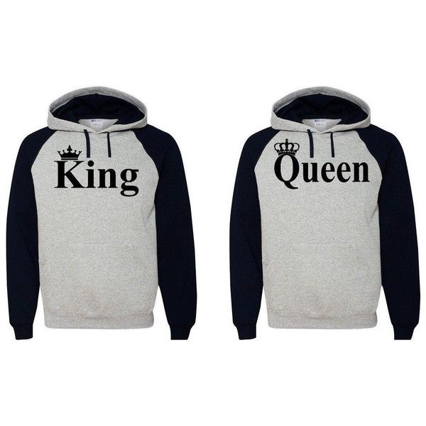 King Queen Hoodie Couple Soulmate Sweatshirt ($56) ❤ liked on Polyvore featuring tops, hoodies, sweatshirts, couples, sweaters, grey, women's clothing, hooded sweat shirt, hooded pullover and sweatshirt hoodie