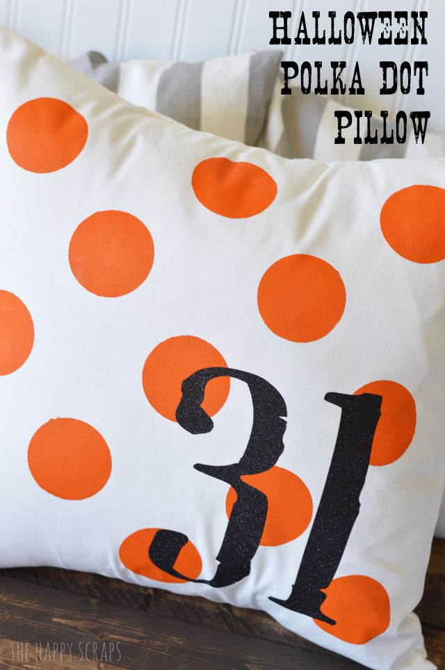 Halloween Polka Dot Pillow. Make this fun pillow with the Cricut Explore or Cricut Expression machines.