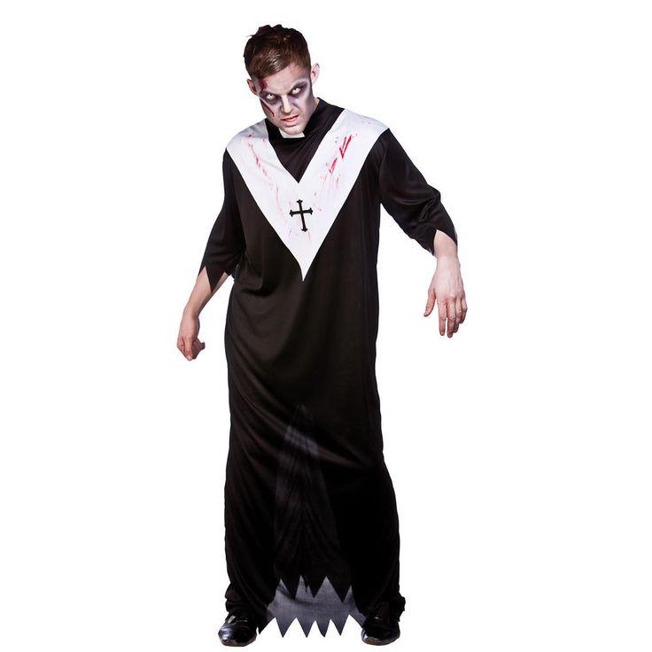 Mens Adults Zombie Priest Horror Scary Fancy Dress Halloween ...