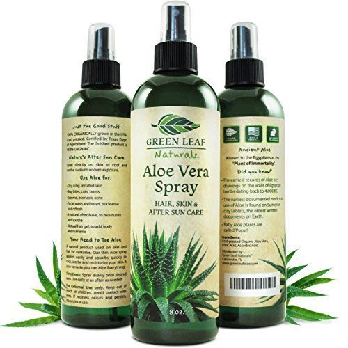 Green Leaf Naturals Organic Aloe Vera Gel Moisturizer Spray for Skin Hair Face and Sunburn Relief  Unscented 8 Ounces >>> Find out more about the great product at the image link.