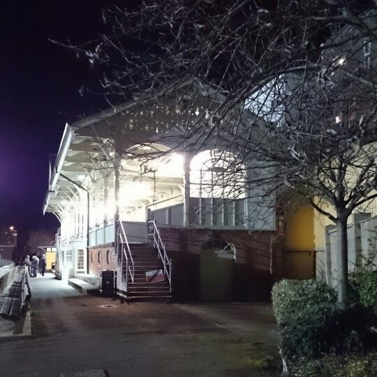 The old grandstand at Great Yarmouth Town FC looking as majestic as ever tonight.