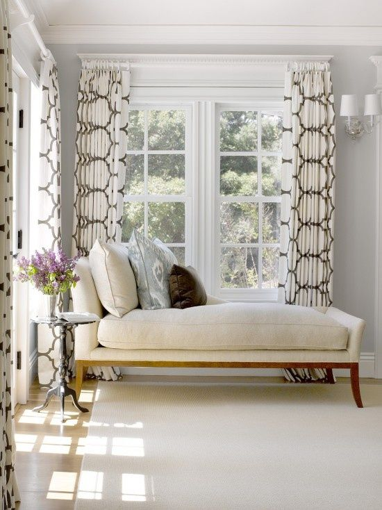 Reading nook with chaise lounge chair next to window | Gallerie B