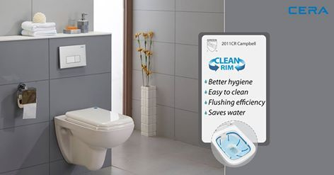 Who isn't looking for better hygiene and better flushing efficiency for their bathroom? The new CERA Campbell ensures easy cleaning and saves water. CERA sanitaryware – beauty with utility! #CERA  #ReflectsMyStyle