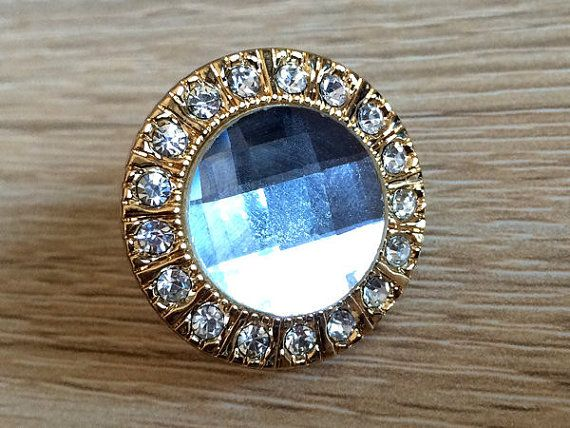 Gold Rhinestone Knobs Crystal Glass Dresser Knob Drawer Knobs Pull Handles Kitchen Cabinet Door Pulls Knobs Decorative Knobs Bling Blings