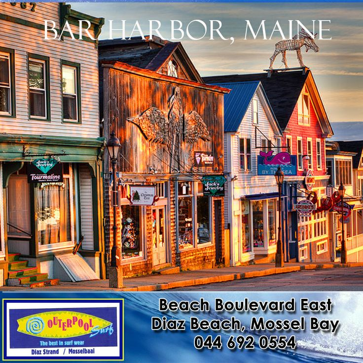 Bar Harbor, Maine. Today Bar Harbor is a popular destination for tourists and a wonderful place to get away from the demands of everyday life. There are plenty of campsites in the area and no shortage of luxury hotels, Spa and Marina. If you find yourself in town, make sure to swing by the Udder Heaven ice cream shop and the attached Bay Gulls Bagel shop. #places #earth #Maine
