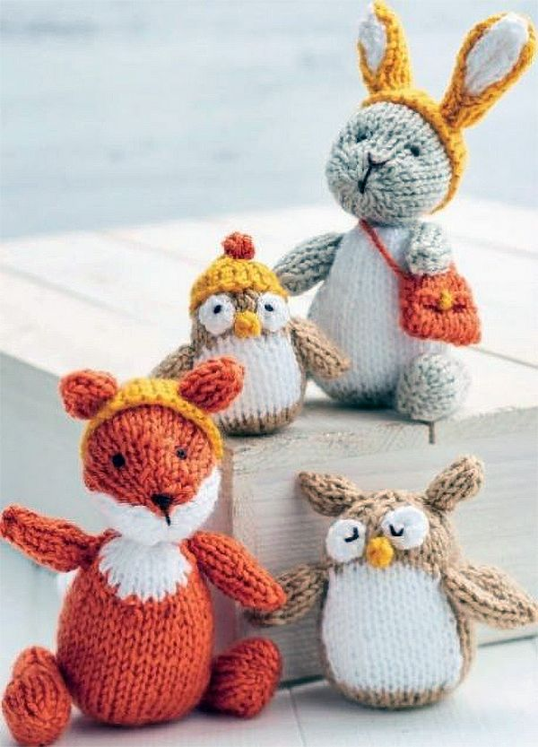 Free Knitting Pattern for Woodland Toys - Four forest animals and accessories in DK yarn. Ferdie Fox: 12.5cm tall.Oggie Owlet: 7.5cm tall (incl. hat).Belinda Bunny: 15cm tall.Enid Owl: 9cm. Designedby Sachiyo Ishii. Click the link below to go to the Let's Knit website and register there to download.