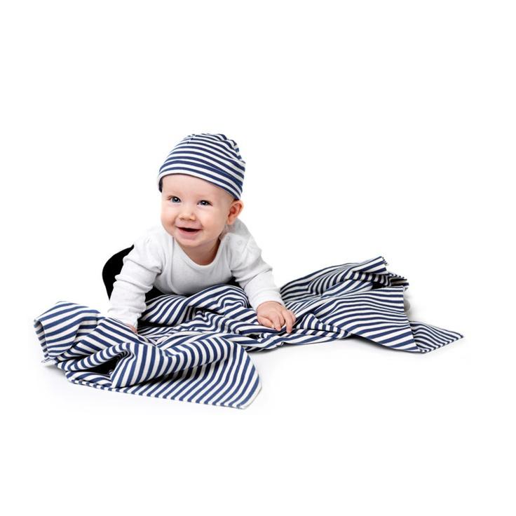 Cotton stripe blanket and hat, blue/creme, Design House Stockholm