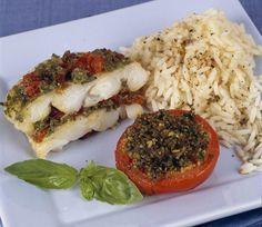 Millefeuilles de flétan aux tomates confites et riz