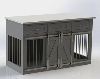 Rustic Dog Crate w/ drawers - Sliding barn doors / Fully Custom / Dog House / Credenza / rustic furniture / farmhouse pet / dog kennel #DogKennels