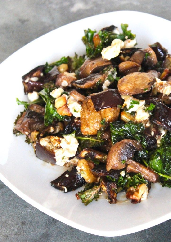 1 1/2 tbsp olive oil, divided 1 large eggplant 1 pint cremini mushrooms 4 large leaves of kale, stems removed 1/2 cup walnuts, toasted 1/4 cup goat cheese, crumbled