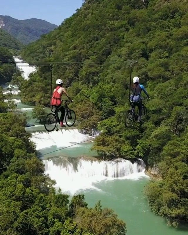 Video By Marieldeviaje Would You Ride This Bike Zip Line Over The Stunning Micos Waterfalls The Huasteca Potosina Is Ziplining Adventure Travel Travel