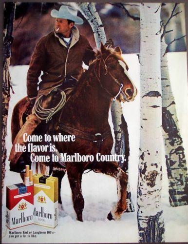 1971 Marlboro Man Riding Horse thru Snow Vintage Ad | eBay