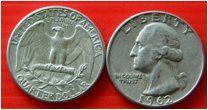 США квотер 25 центов 1962 монетный двор P Рузвельт СЕРЕБРО