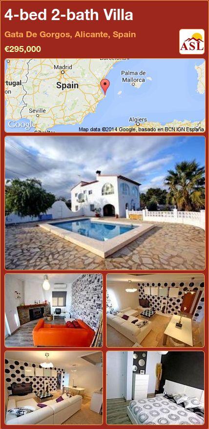 4-bed 2-bath Villa in Gata De Gorgos, Alicante, Spain ►€295,000 #PropertyForSaleInSpain