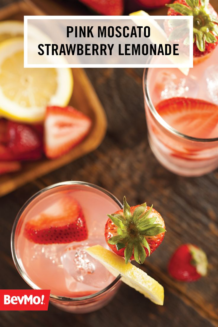 Three simple and boozy ingredients from BevMo! make the base for this Pink Moscato Strawberry Lemonade recipe. Grab your favorite blush wine, lemonade, and strawberry vodka, mix with fresh fruit and citrus garnish and enjoy! Who knew a refreshing and fun summer cocktail could be so easy?!