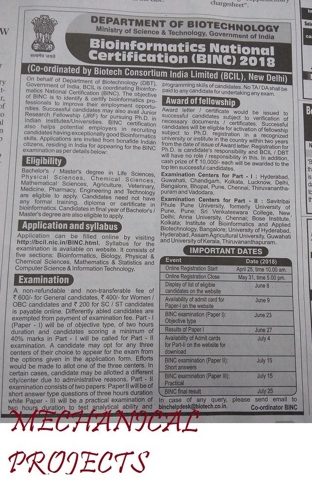 Jobs Bioinformatics National Certification Binc 2018 Jobs