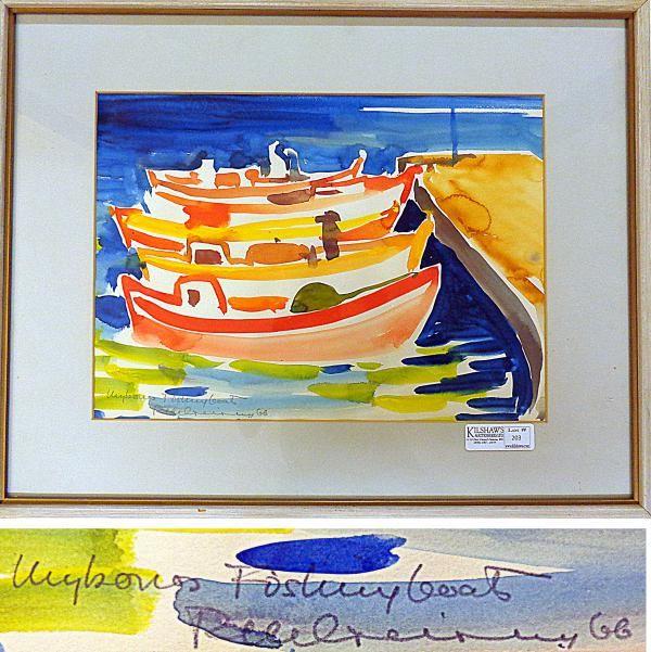 'Fishing Boats,' 1966, Richard Ciccimarra, watercolour, 32 x 44 cm., Victoria, British Columbia, Canada.