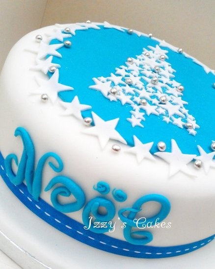 Blue White and Silver Christmas Cake  Cake by izzyscakes