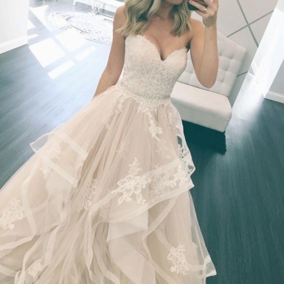 Sweetheart Bridal Ball Gown With Tulle,Cheap Wedding Dress