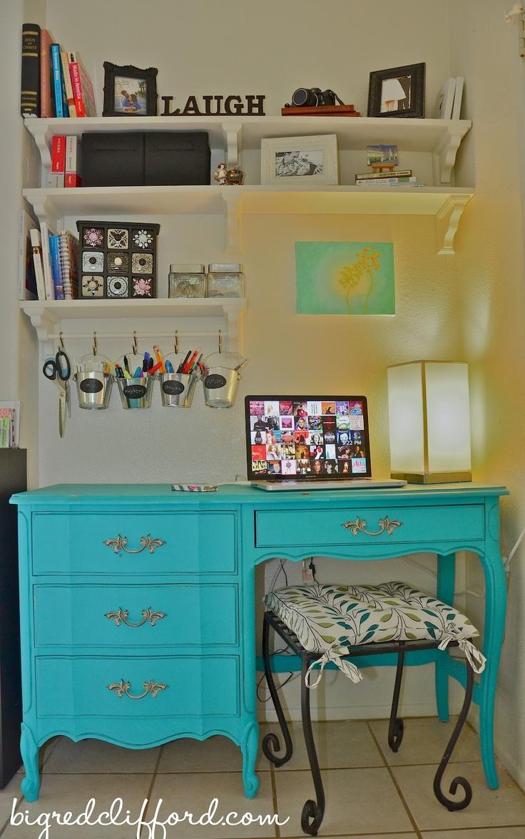 "big red clifford: my ""design studio"" aka, my tiny desk nook"