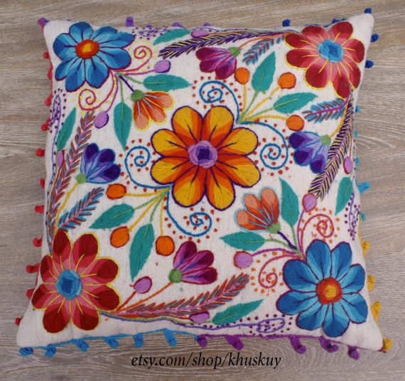 Peruvian Pillow covers Hand embroidered flowers 16 x 16 Sheep & alpaca wool…