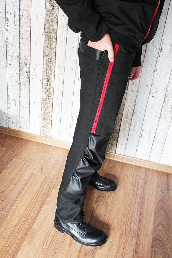 """Handcrafted pants with 2 zips and eco leather on the knees. One of a kind. The only one in the world like it. As unique as you!!! Made from BIO cotton (denim).  Waist: 86 – 88 cm (33 – 34,5"""") Length: 110 cm (43"""")  FREE SHIPPING WORLDWIDE"""