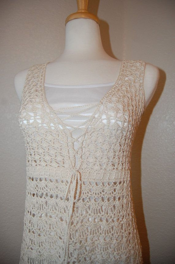 Crochet Dress with front lace in ecru cotton size by LoyesThread