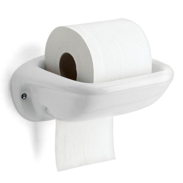 Klassisk toalettrullehållare i vitt porslin. Toalettpappret placeras i skålen och pappret dras ut genom en öppning i underkant av hållaren..