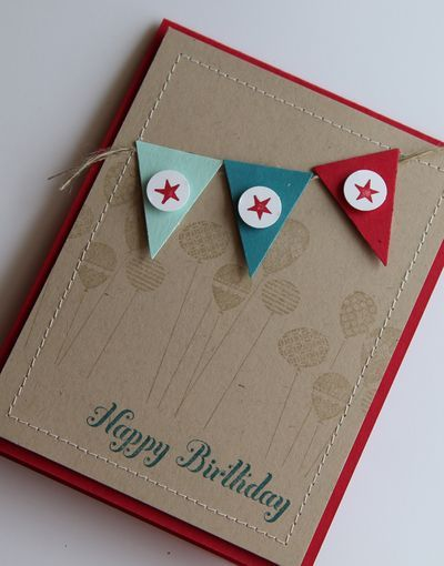 great male card: Card Idea, Color Combos, Birthday Boys, Birthday Cards, Card Design, Stamps Sets, Patterns Party, Happy Birthday Banners, Make Card