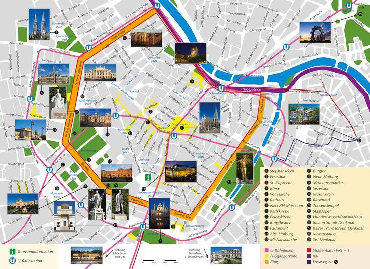 Stadtplan Wien Pracht alter Architektur. Freyung, Schönlaterngasse, Judenplatz, Habsburgergasse, Fleischmarkt, Postgasse, Franziskanerplatz